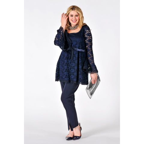 Yoek Black Label Lace Shirt with Waist Ribbon