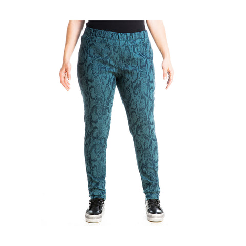 MAT Slim-leg pants with Snake-chic Texture