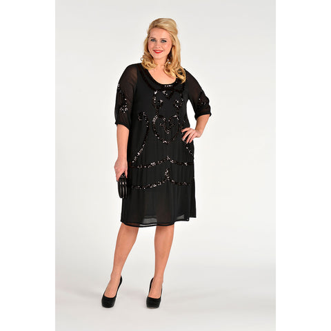 Yoek Black Label Dress All-over Paillet Voile