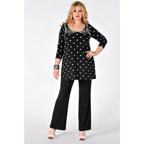 Yoek Black Label Shirt Flare Beaded Neck Dots