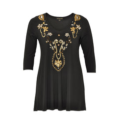 Yoek Black Label Shirt Flare Embroided Neckline