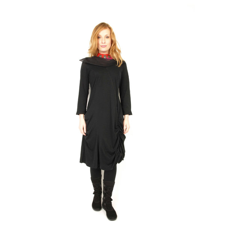 Rimini  Organic Cotton Black Dress with Unique Collar