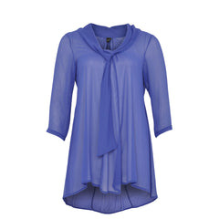 Yoek Blouse Attached Scarf Voile