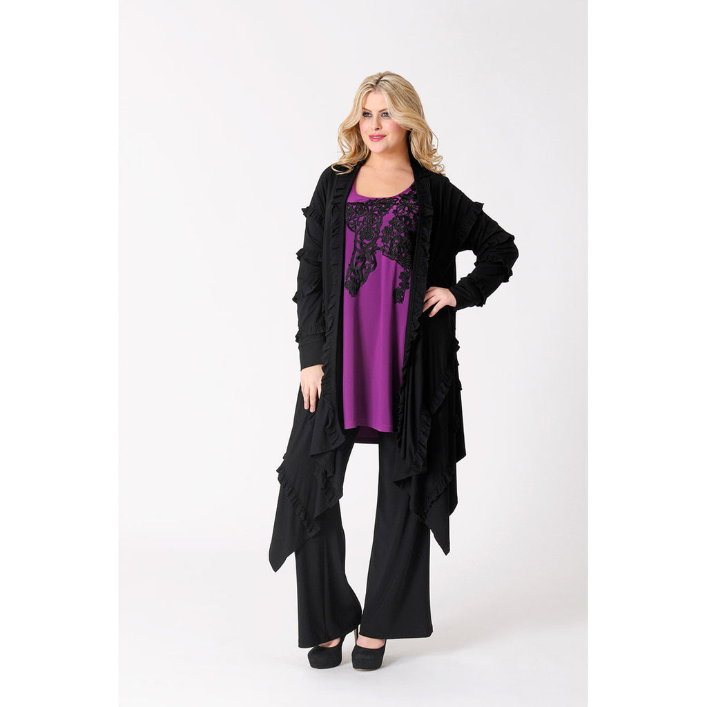 Yoek Cardigan Ruffles All-Over Black
