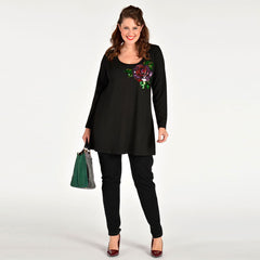 Yoek Embellished Rose Shirt