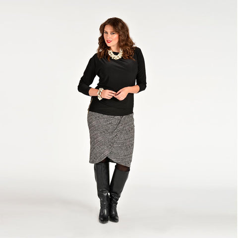 Yoek Skirt Drape Layer Herringbone