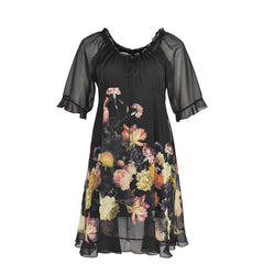 Yoek Dress Wide Neck Night Rose