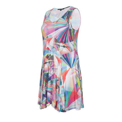 Twister Dress A-line Sleeveless  Tricot fabric with Allover Kaleidoscope Print