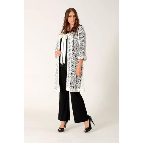 Yoek Black Label Lace Coat White