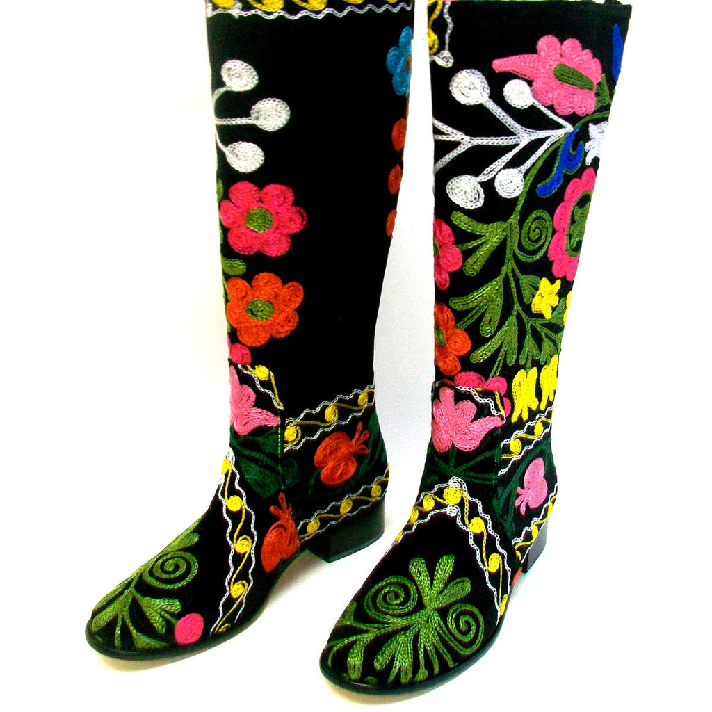 Suzani Hand Embroidered Classic English Riding Boot