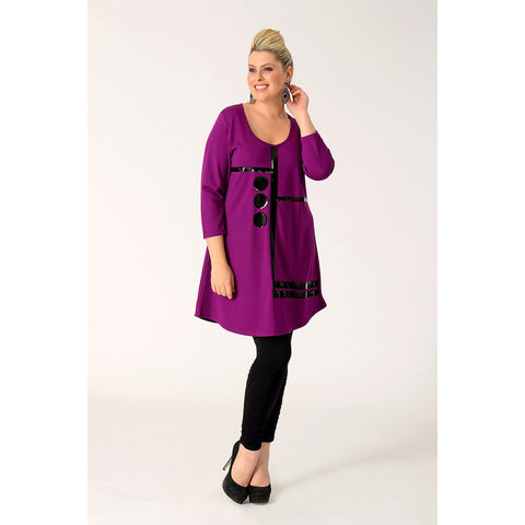 Yoek Tunic Wide Bottom Str/Dots