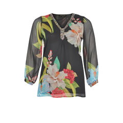 Yoek Black Label Blouse V Beaded Blooms