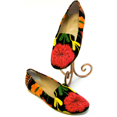 Suzani Embroidered Smoking Flats