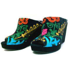 Suzani Embroidered Open Toe Wedge Shoe