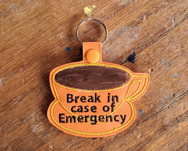 Coffee Emergency Keychain: Orange