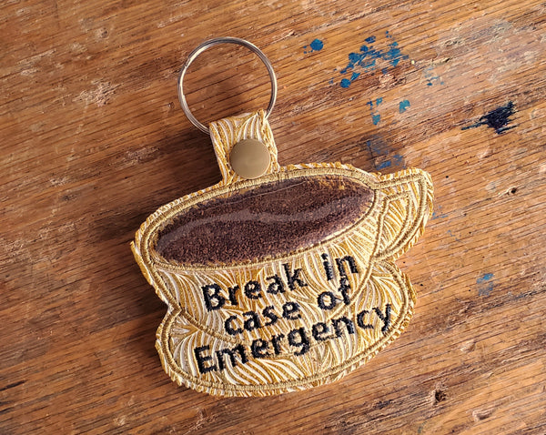 Coffee Emergency Keychain: Gold