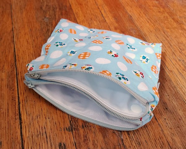 Eggs Double-Sided Waterproof Zip Pouch. Ready to Ship.