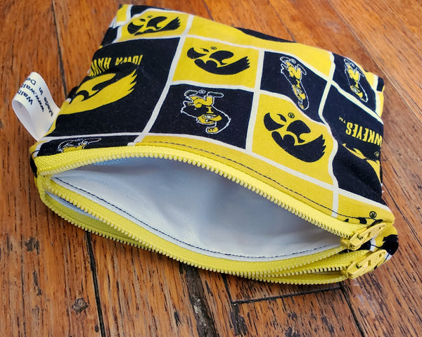 UIowa Double-Sided Waterproof Zip Pouch. Ready to Ship.