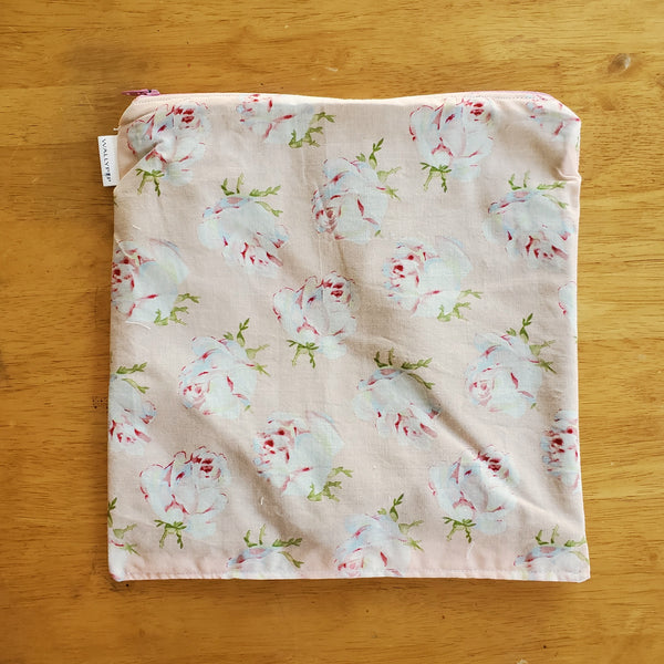 Roses Small Waterproof Zip Pouch / Wet Bag - Ready to Ship.
