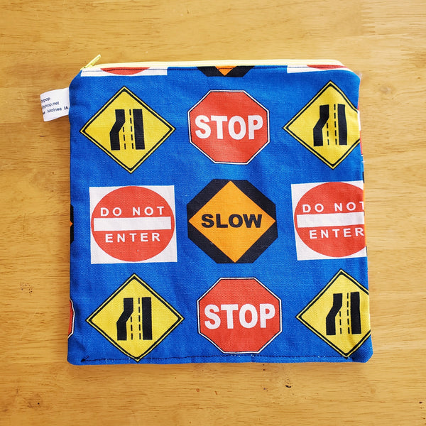 Traffic Signs Small Waterproof Zip Pouch / Wet Bag - Ready to Ship.