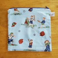 Baseball Small Waterproof Zip Pouch / Wet Bag - Ready to Ship.