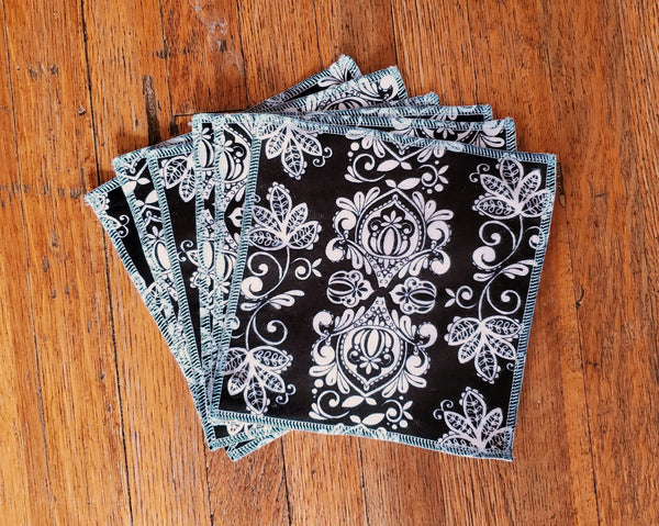 Cloth Wipes Set of Six - Black and White