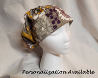 Custom Made Scrub Cap, Surgical Cap. Jessica Style with elastic. Covers long hair. Religious headcovering. Personalization Available.