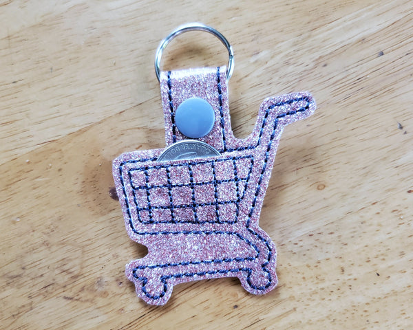 Grocery Store Quarter Keeper - Grocery Cart Quarter Holder Keychain - Peach Glitter
