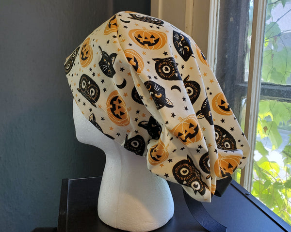 Fun Halloween Scrub Cap, Surgical Cap. Pixie/Ponytail Style. Covers long hair. Ready to Ship.