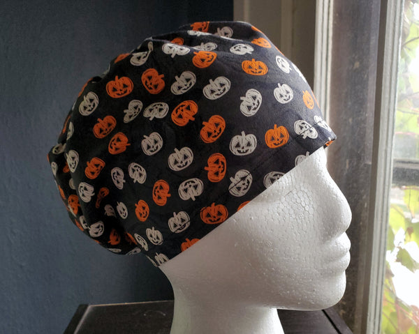 Pumpkins Halloween Scrub Cap, Surgical Cap. Jessica Style with elastic. Covers long hair. Ready to Ship.