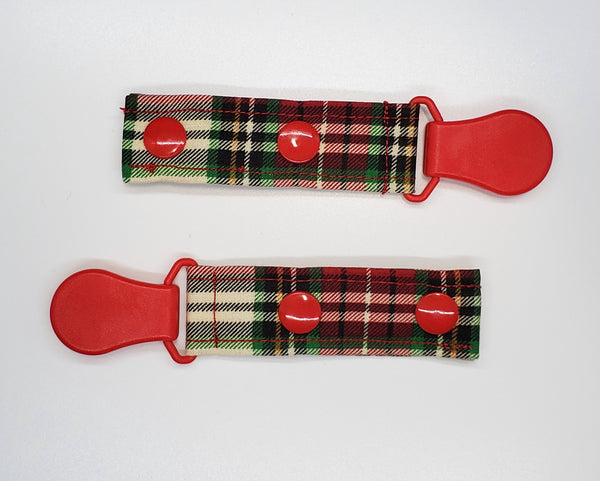 Red Plaid Tubie Clip, Cord Clip. Ready to Ship.