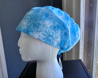 Blue Snowflakes Scrub Cap, Surgical Cap. Jessica Style with elastic. Covers long hair. Ready to Ship.