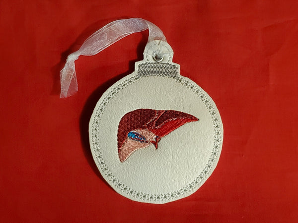 Liver Embroidered Christmas Ornament