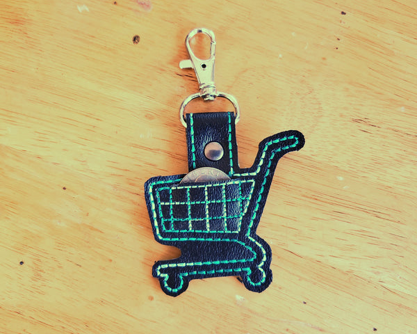 Grocery Store Quarter Keeper - Grocery Cart Quarter Holder Keychain - Black and Teal with Lobster Clasp
