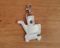 Grocery Store Quarter Keeper - Grocery Cart Quarter Holder Keychain - White with Rainbow stitching