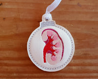 Kidney Embroidered Christmas Ornament