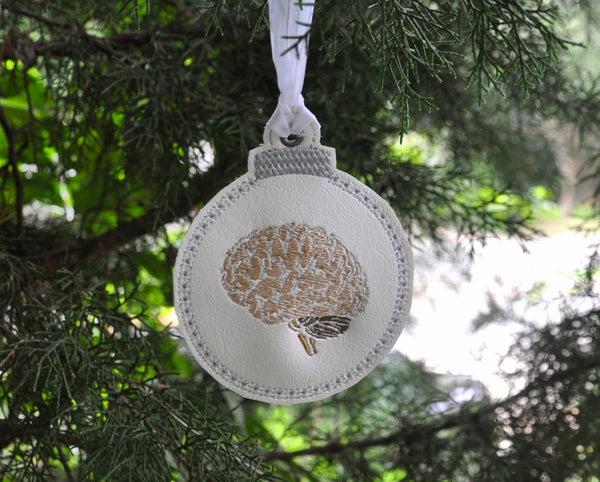 Brain Embroidered Christmas Ornament