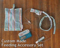 SET of Custom Made Feeding Tube Accessories - Insulated Feeding Pump Bag Cover, Cord Clip, Connector Cover, Cord Keeper
