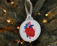 Heart Embroidered Christmas Ornament