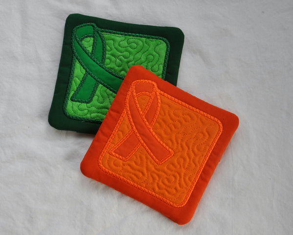 Awareness Ribbon Coaster or Mug Rug - set of Two