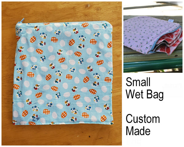 Small Waterproof Zip Pouch / Wet Bag - Custom Made.