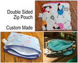 Double-Sided Waterproof Zip Pouch - so many uses. Custom Made.