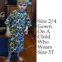 Size 2/4 Dragon Children's Hospital Gown. Ready to Ship.