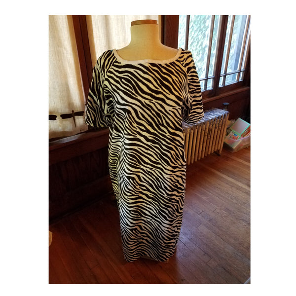 Size Small Zebra Stripe Hospital Gown, Ready to Ship.