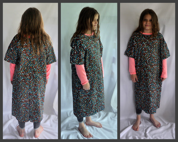 Size 8/10 Gray with Bright Dots Hospital Gown. Ready to Ship
