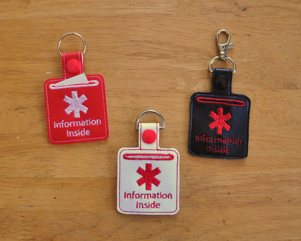 Medical Alert Keychain, Key Fob. Medical Information Inside.