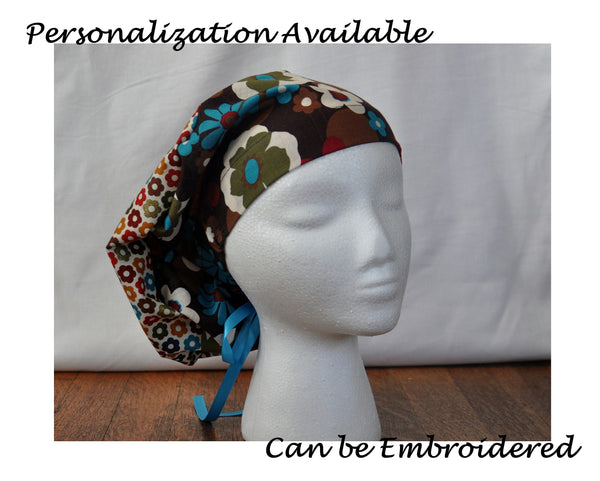 Custom Made Scrub Cap, Surgical Cap. Pixie/Ponytail Style. Covers long hair. Religious headcovering. Personalization Available.