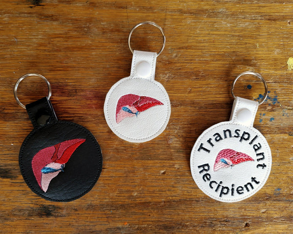 Anatomical Liver Keychain - with or without custom text - two sizes.