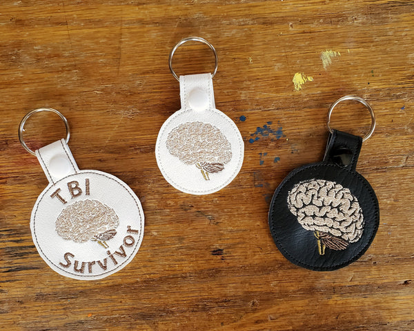 Anatomical Brain Keychain - with or without custom text - two sizes.