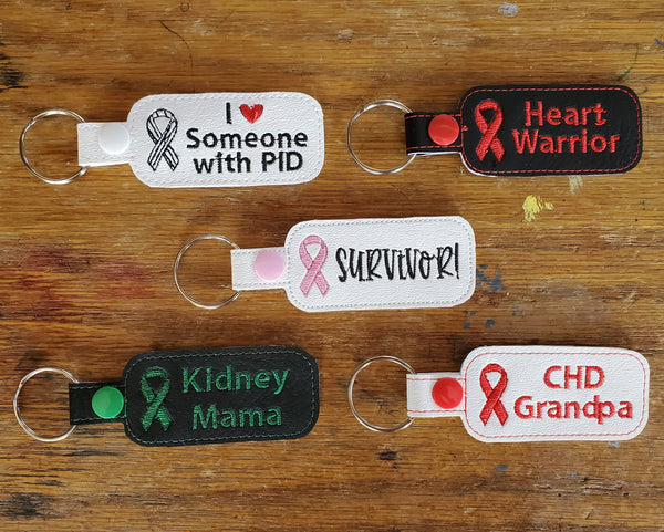Awareness Ribbon Keychain - Personalized - Any color ribbon, your custom text.